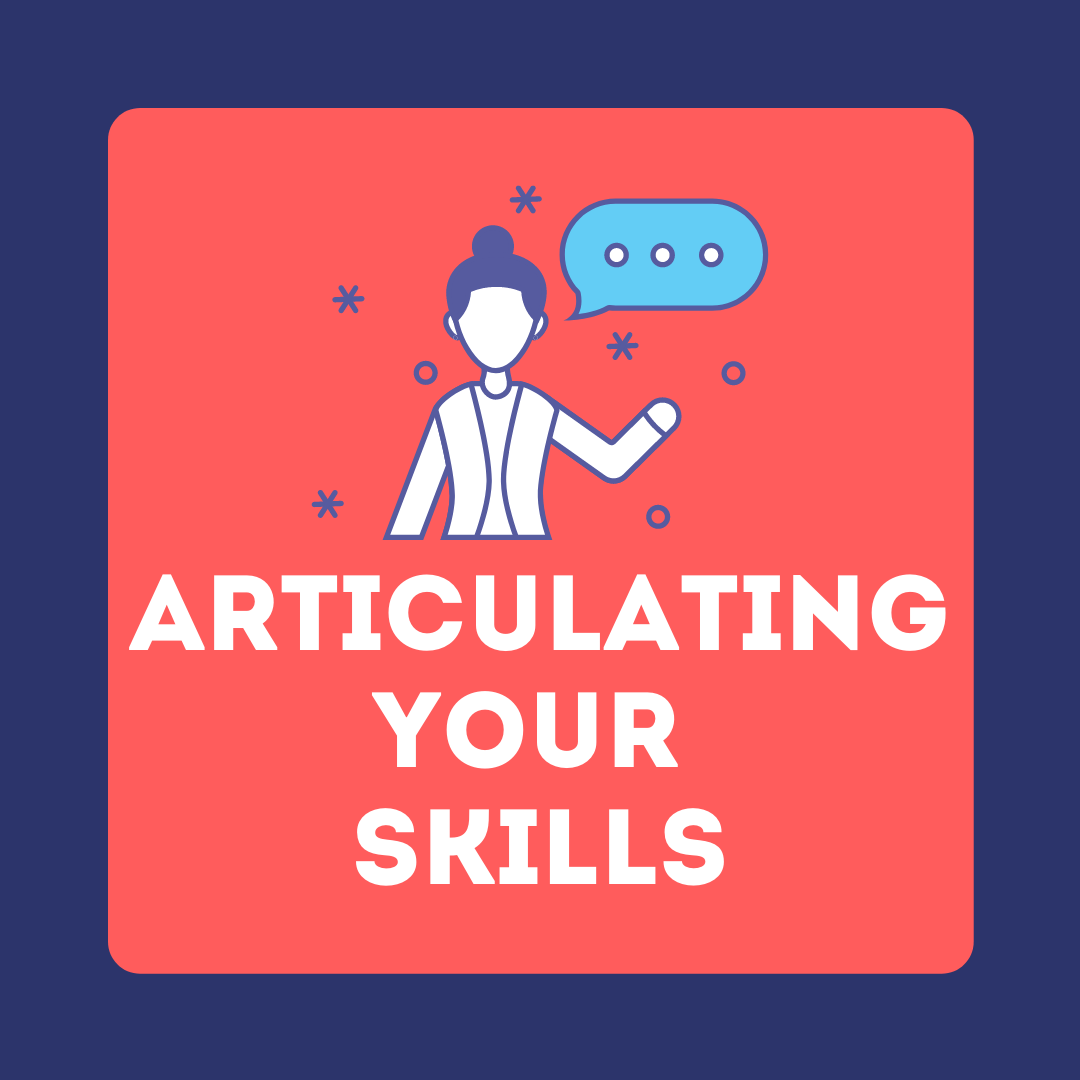 "Clipart person talking with the text ""Articulating Your Skills"" directly beneath."