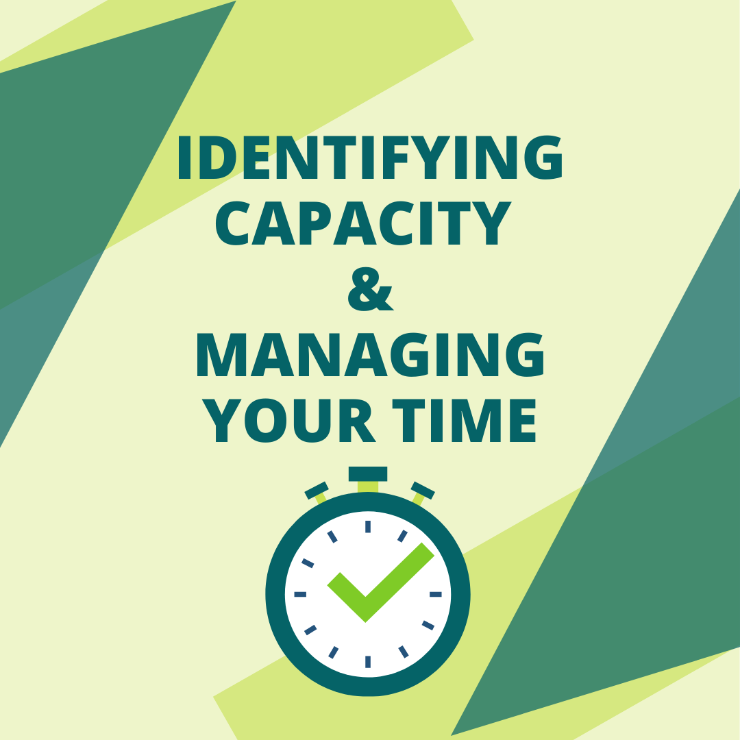 Stop watch with a checkmark on it. Title Text, centered reads Identifying Capacity & Managing Your Time in Green font.