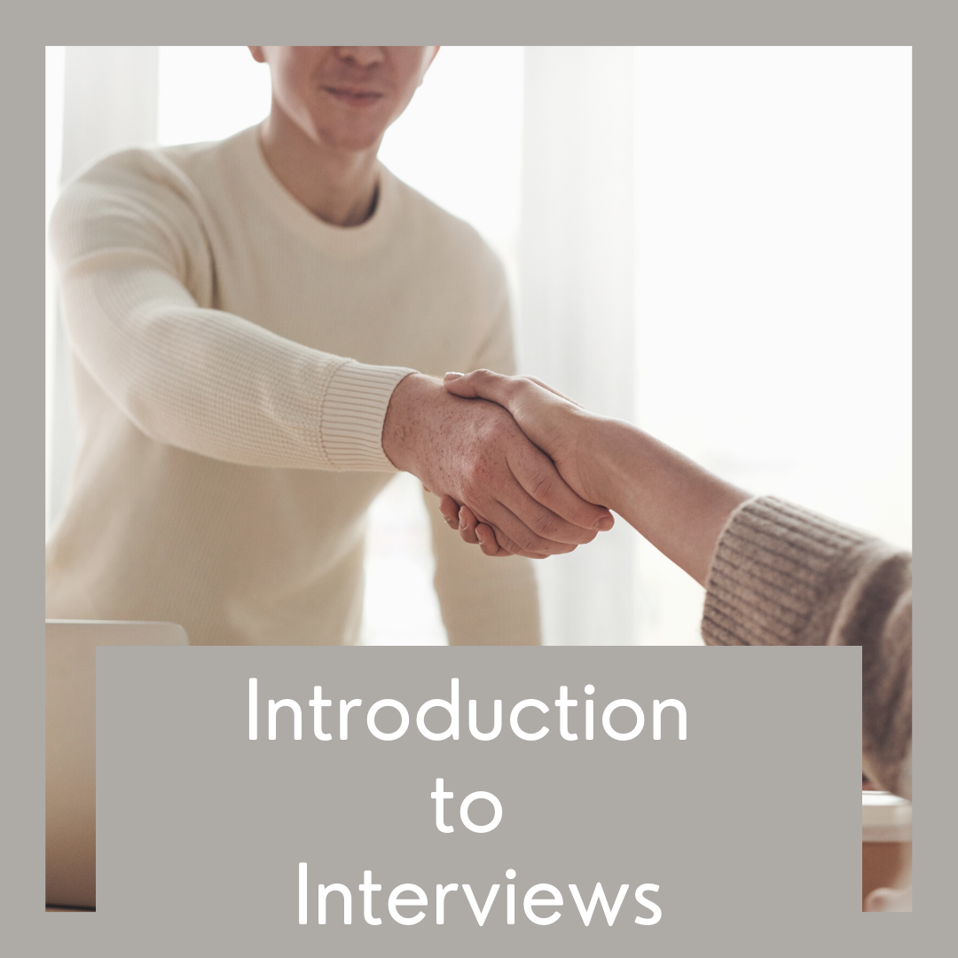 Two people shake hands, grey border, and Introduction to Interviews written in white text.