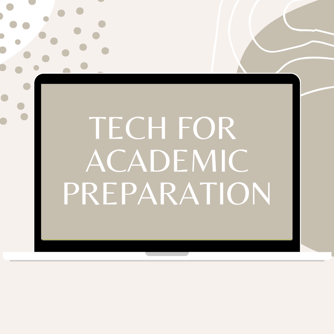 Grey and white tones background, computer in the center, with white text on it that says tech for academic preparation
