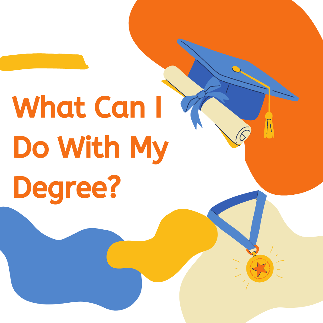 Orange, Blue and yellow theme of amophous blobs, graduation cap and degree graphic and a graphic of an award medal. Orange text says: What Can I Do With My Degree?