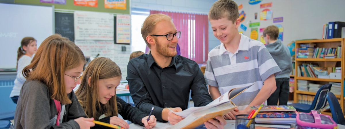 Education student teaching in a classroom