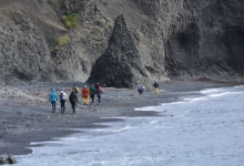 Students studying sustainable Arctic marine tourism in Iceland