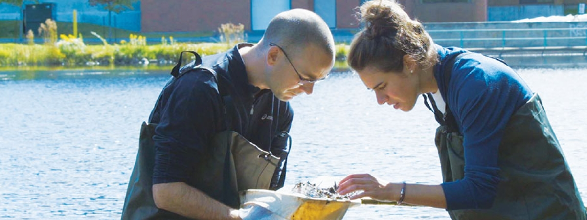student and professor examining aquatic life in the pond