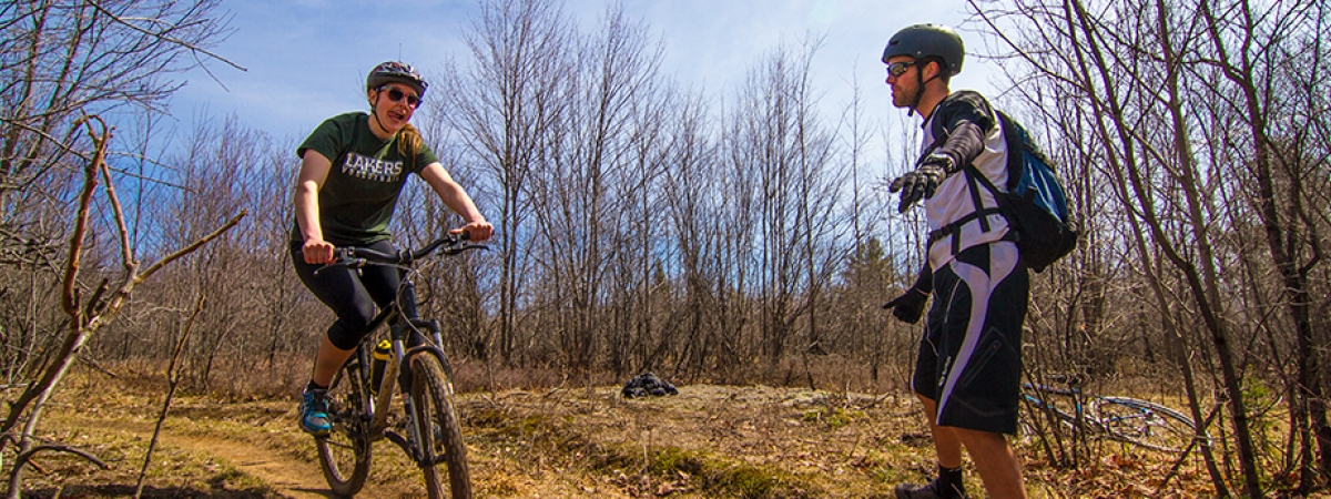 Over 20km of mountain biking, hiking, and groomed cross-country ski trails right on campus!