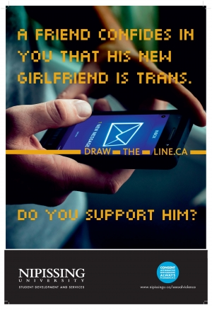 Draw the line poster: A friend confides in you that his new girlfriend is Trans. Do you support him?