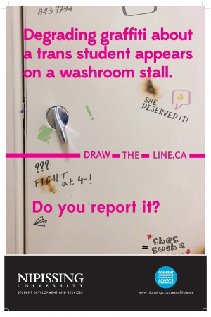 Draw the Line poster: Degrading graffiti about a trans student appears on a washroom stall. Do you report it?