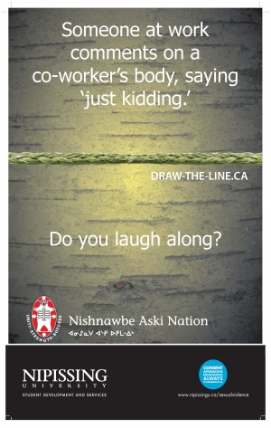 Draw the Line poster: Someone at work comments on a co-worker's body, saying 'just kidding'. Do you laugh along?