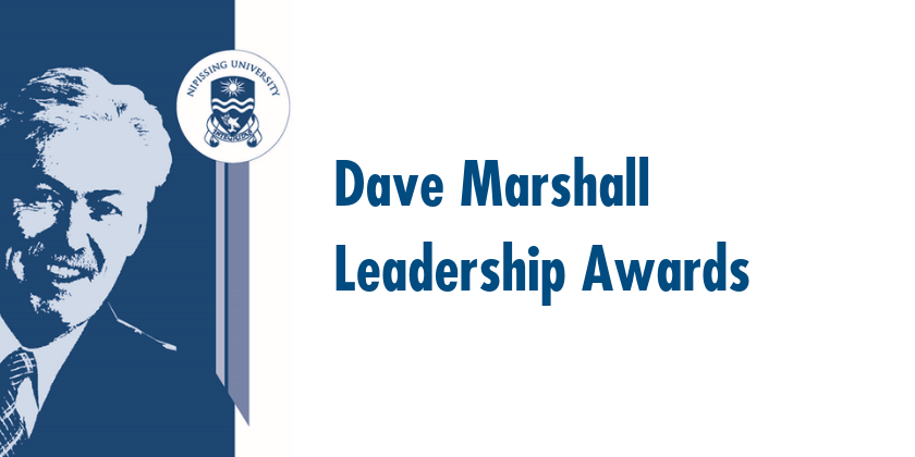 "Watermark of Dr. Dave Marshall appers left. Next is a ribbon topped by the university's crest. Blue text reads on a white background reads ""Dave Marshall Leaderhsip Awards"""