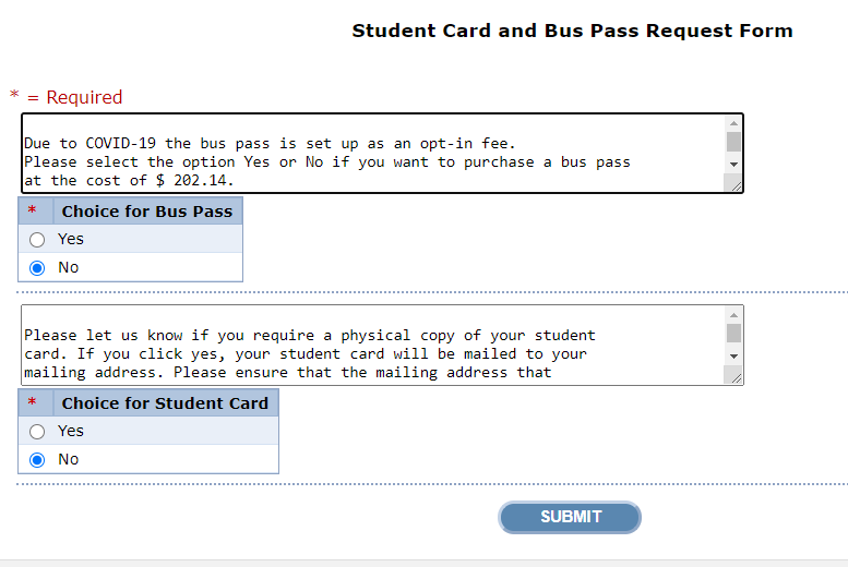 WebAdvisor Bus Pass and Student Card Request Form